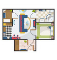 architectural color flat plan top view with living vector image vector image