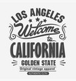 athletics typography t-shirt graphics california vector image vector image