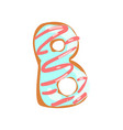 b letter in the shape of sweet glazed cookie vector image