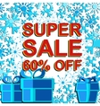 Big winter sale poster with SUPER SALE 60 PERCENT vector image vector image