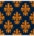 Blue and orange fleur-de-lis seamless pattern vector image vector image