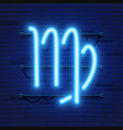 blue shining cosmic neon zodiac virgo symbol on vector image