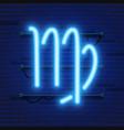 blue shining cosmic neon zodiac virgo symbol vector image