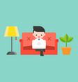 businessman using laptop on luxury sofa flat vector image vector image