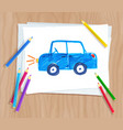child drawing of car vector image