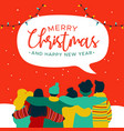 christmas and new year diverse people group card vector image vector image