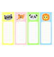collection cute bookmarks with animal heads vector image