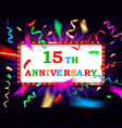 colorful 15 date celebration background vector image vector image