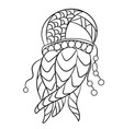 coloring page with jellyfish in ornamnets in vector image