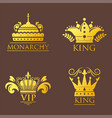 crown king vintage premium golden badge heraldic vector image vector image