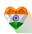 crystal heart the flag of republic of india vector image
