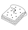 delicious sandwich food in black and white vector image vector image