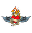 flaming heart with wings vector image vector image