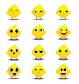 flat emoji collection of funny chick vector image