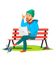 freelance man sitting on bench in the park with vector image