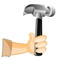 Gavel in hand of the person vector image vector image