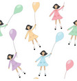 girls with balloons seamless background vector image vector image
