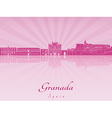 Granada skyline in purple radiant orchid vector image vector image