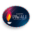 happy diwali diya label design vector image vector image