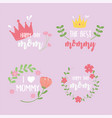 happy mothers day inscriptions card flowers crown vector image vector image