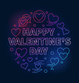 happy valentines day round colored line vector image vector image