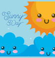 kawaii sunny day clouds weather vector image vector image