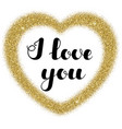 lettering i love you in frame heart shape from vector image