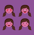 little purple girls emoticon set kawaii characters vector image