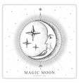 magic witchcraft card with astrology moon sign vector image