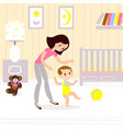 mom and baby in the childrens room the first seps vector image vector image