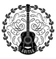 monochrome pattern with guitar and wreath vector image vector image