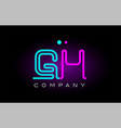 neon lights alphabet gh g h letter logo icon vector image vector image
