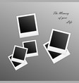old empty realistic photo frames with transparent vector image vector image