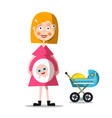 pregnat woman with baby carriage young mother vector image