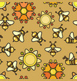 seamless pattern included bee and flowe vector image vector image