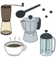set of coffee maker vector image vector image