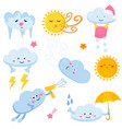 set of funny clouds and suns weather images vector image