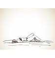sketch woman laying in bikini on beach hand drawn vector image
