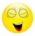 smiley with his eyes closed and his mouth open vector image vector image