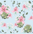 succulent and pink orchid flowers seamless vector image vector image