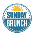 sunday brunch grunge rubber stamp vector image vector image