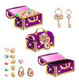 treasure chest with pink jewelry vector image vector image