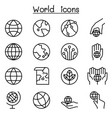 world earth icon set in thin line style vector image vector image