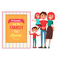 friendly family with children near big quotation vector image