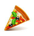 vegetarian pizza slice isolated on white vector image