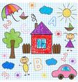 seamless pattern kids drawings vector image