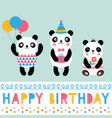 birthday card with panda bears vector image vector image