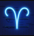 blue shining cosmic neon zodiac aries symbol on vector image