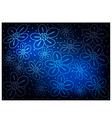 Blue Vintage Wallpaper with Flower Pattern vector image vector image
