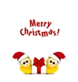 Christmas card with chickens in Santa hat Rooster vector image